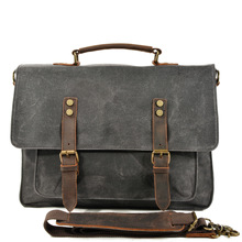 New Arrival Men Retro Business Briefcase 15.6 Laptop Waterproof Crossbody Bags Wax Canvas Handbag