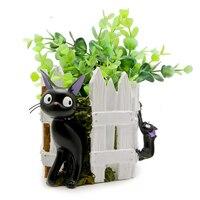 1pcs Studio Ghibli Miyazaki Kiki's Delivery Service Fence Kiki Cat Flower PVC Model Action Figure Model Toys for Home Decor