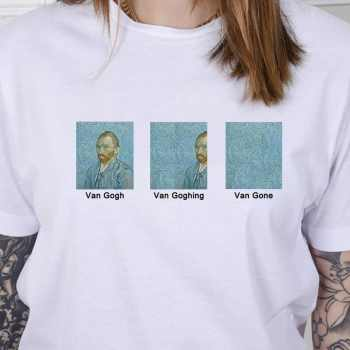 hahayule-JBH Unisex Van Gogh Van Goghing Van Gone Meme Funny T-Shirt Hipsters Cute Printed Tee - DISCOUNT ITEM  7% OFF All Category