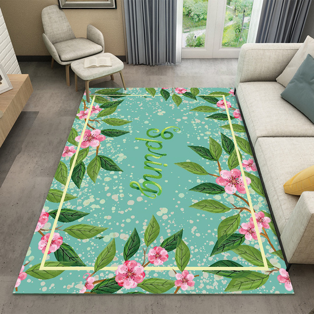 Green Flower Carpet Home Decor Bedroom Kids Room Sofa Coffee Table Rugs Study Floor Soft Fashion Mat
