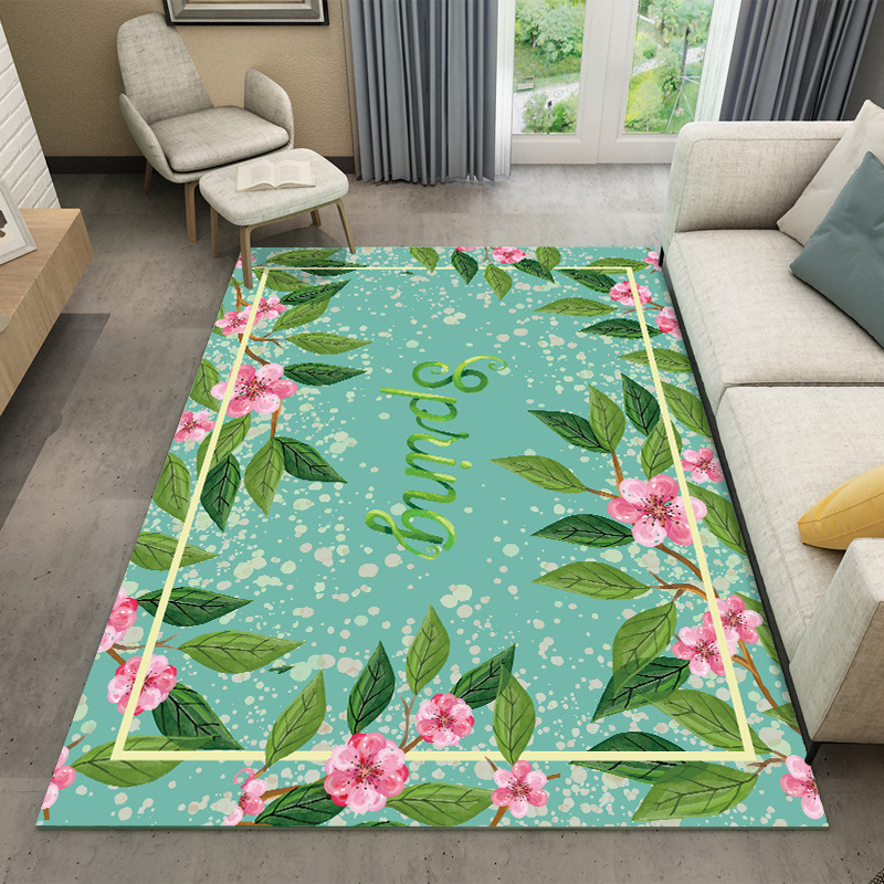 Green Flower 3D Carpet Home Decor Bedroom Carpet Kids Room Sofa Coffee Table Rugs Study Room Floor Rugs Soft Fashion Floor Mat