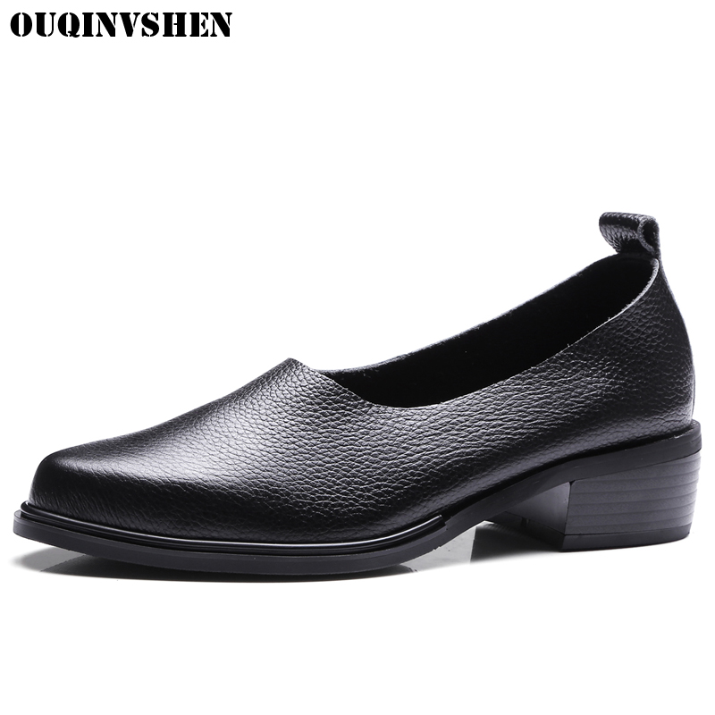 OUQINVSHEN Square Heel High Heels Women Pumps Shallow Pointed Toe Single Shoes Casual Fashion Genuine Leather High Heel Pumps ароматизатор $100 5х11 см запах роза 1135722