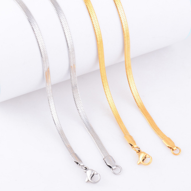 Free Shipping Chain Stainless Steel Necklace For Women Men Gold and Silver Color