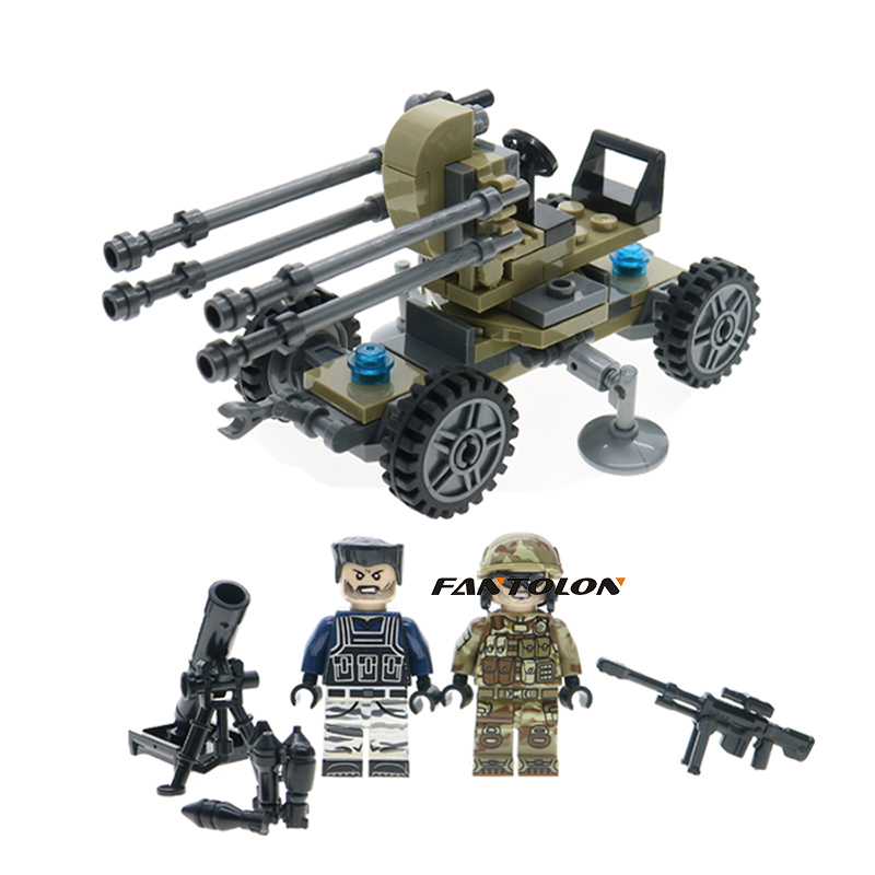 WW2 High Ground Aircraft Gun Building Blocks Military Figures With Weapons Model Diy Bri ...