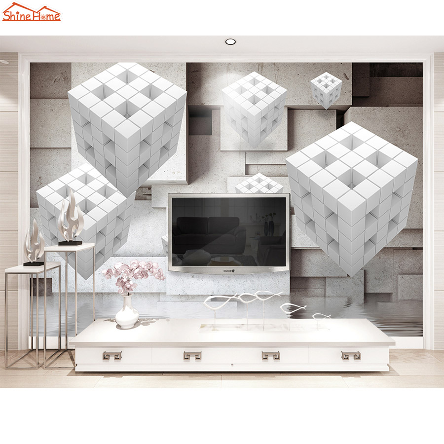 Shinehome-3d Abstract Geometric Pattern Letter Brick Mural Rolls Wallpaper for Living Room Wall Paper Roll Papel De Parede