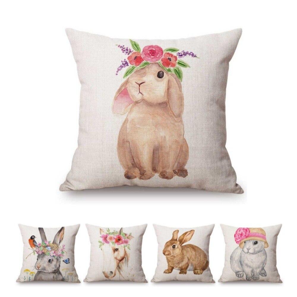 woodland nursery decor children cushion nursery cushion rabbit home decor bunny gift rabbit pillow Bunny cushion cover kids pillow