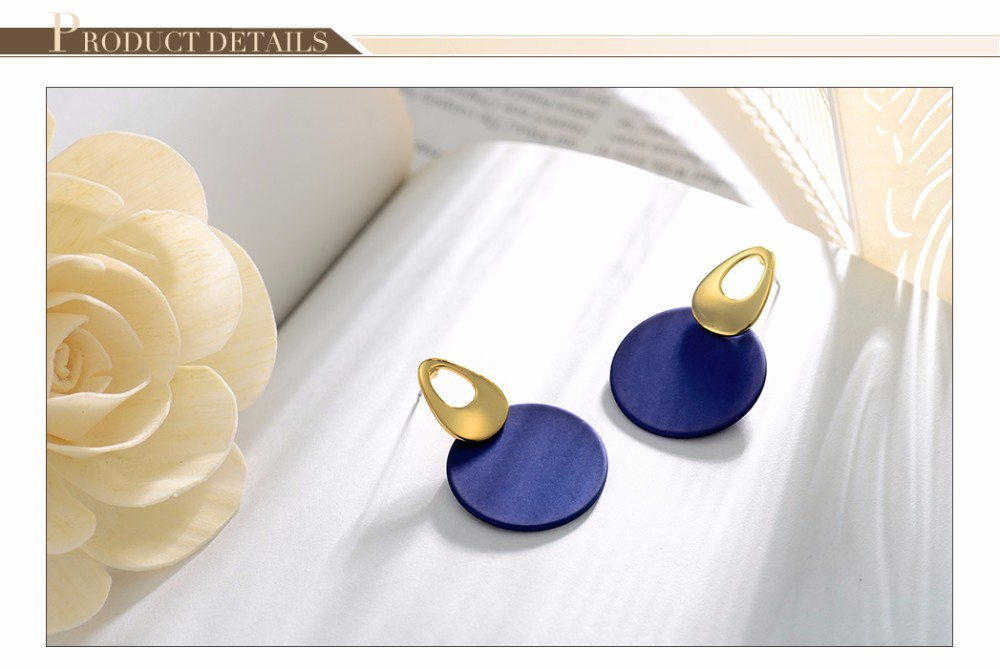 Viennois Fashion Jewelry Blue & Red Dangle Earrings for Woman Rose Gold Color Earrings Trendy Long Round Earrings 6