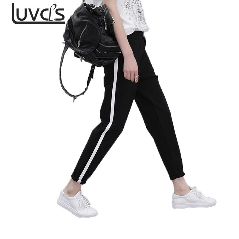 LUVCLS Store LUVCLS Spring Autumn Fashion Casual Pants Women White Striped Stitcing Slim Harem Pant Female Casual Loose Black Pencil Trouser