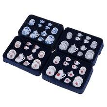 4 узора, 1:12, миниатюрный набор из 15 фарфоровых чашек для чая, чайный набор, Цветочная посуда, кухонный кукольный домик, мебель, игрушки для детей