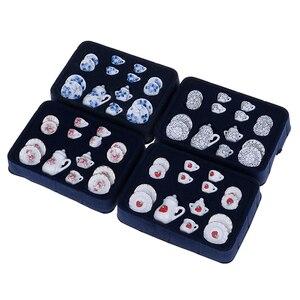 4 patronen 1:12 Miniatuur 15Pcs Porseleinen Kopje Thee Set Sits Bloem Servies Keuken Poppenhuis Meubels Speelgoed Voor Kinderen(China)
