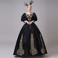 68cfe85d7db5 Customized 18th Century Black Women's Party Dress Medieval Gold Appliques  Marie Antoinette Ball Gowns Theater Costumes