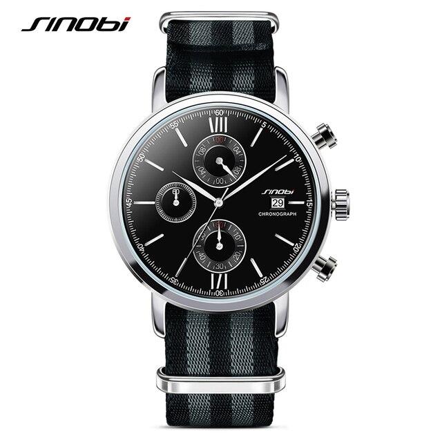 0caecf9da45 SINOBI Homens Relógios Desportivos Militar NATO Nylon Pulseira Masculina  Chronograph Quartz Relógio De Pulso À Prova