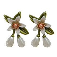 Earrings product womens fashion pearl earrings retro geometric metal wholesale orange flower leaves