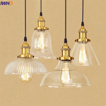 Loft Industrial Pendant Lights Fixtures Glass Metal American Edison Style Retro Pendant Lighting Hanglamp Vintage Lamp Light