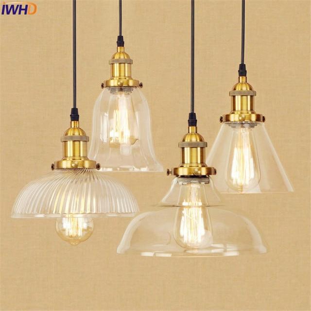 Loft Pendant Lights Fixtures Gl Metal American Edison Style Retro Lighting Hanglamp Vintage Lamp