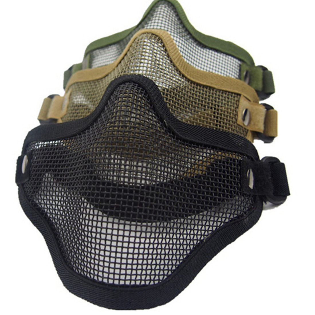 2018 New Half Lower Face Metal Steel Net Mesh Hunting Tactical Protective Airsoft Mask For Military Paintball Hunting Airsoft