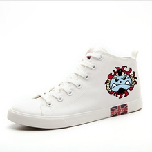 Funny print ONE PIECE Pirate Regiment Logo Cartoon High Heel Canvas Uppers Sneakers College Personalise Fashion Casual shoes