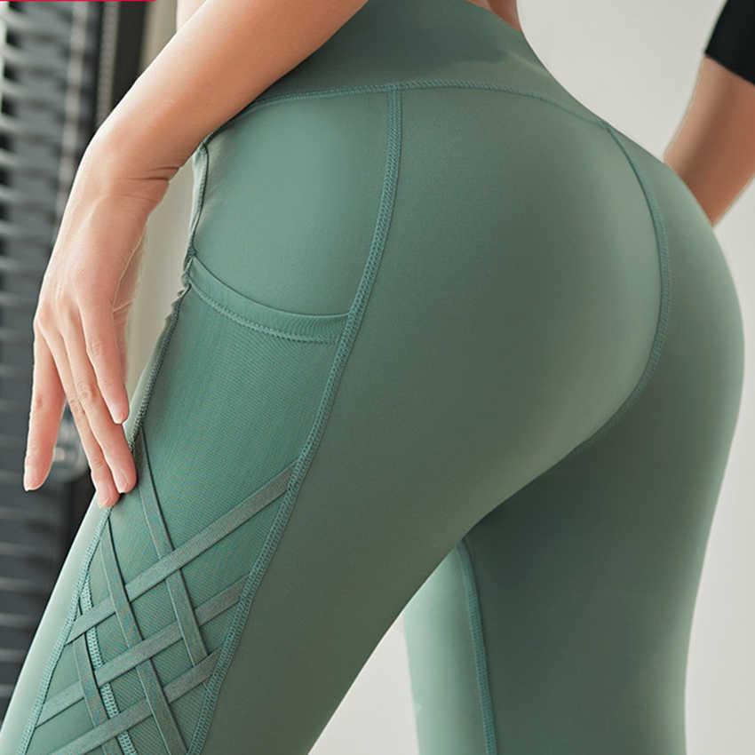 Cao Cấp Thảm Tập Yoga Kèm Túi Bên Lưới Crisscross 4 Chiều Chạy Bộ Tập Thể Dục Quần Legging Xanh Thể Thao Quần Legging Nữ