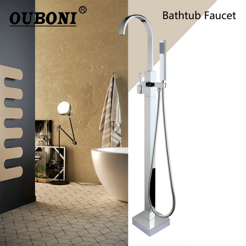 OUBONI Floor Mounted Tub Filler Faucet Square Design Bath Shower with Hand Shower Chrome Freestanding Shower Faucet Set sea sky bath shower curtain floor rug 2pcs set