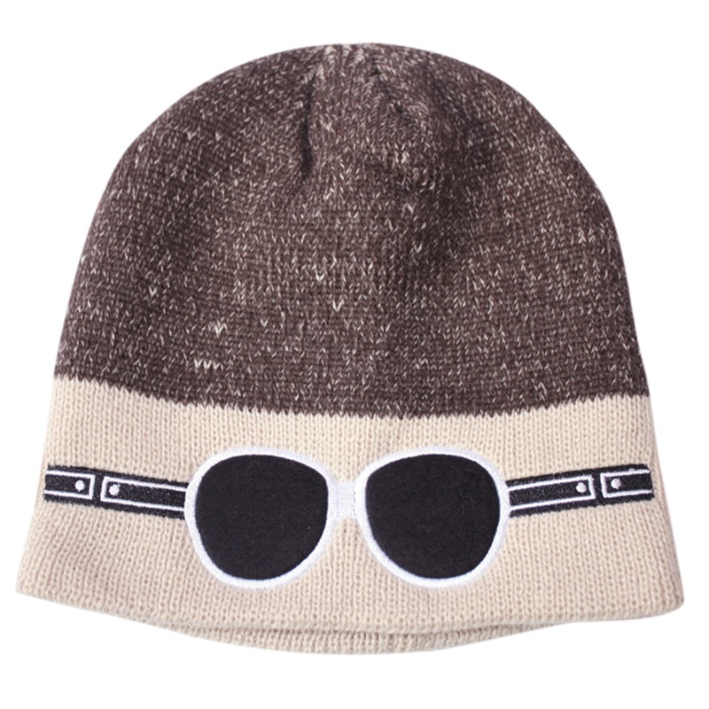 Fashion Popular Unisex Woolen Hat Two-tone Eyeglasses Pattern Cartoon Knitting Hat Boys Girls Hip Hop Style Caps 2017 Winter Hat fashion handpainted palm sea sailing pattern hot summer jazz hat for boys