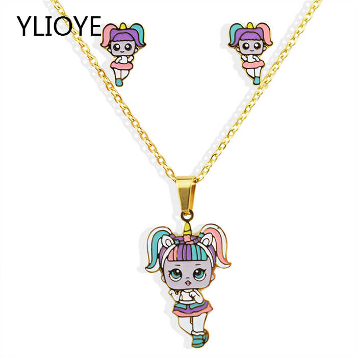 YLIOYE Kids Gifts Sales Cartoon Gold LOL doll Pendants Stainless Steel New Fashion Necklace Earrings Jewelry Sets for Women