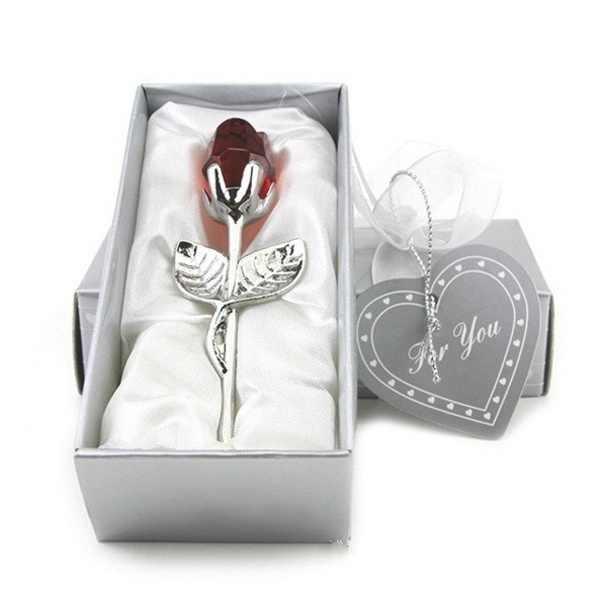 クリスマスミニクリスタルローズ花人工クリスタルローズ金属棒で花の枝新年結婚式バレンタインデーのギフト