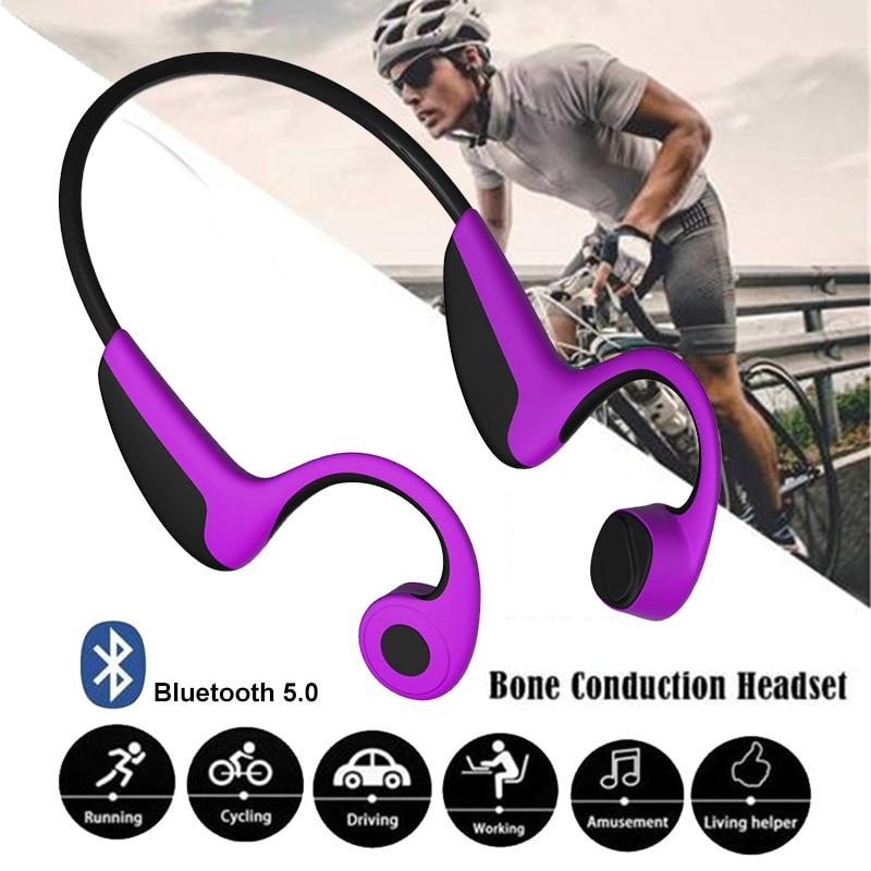 Écouteur sans fil à Conduction osseuse Bluetooth 5.0 casque stéréo sangle de cou