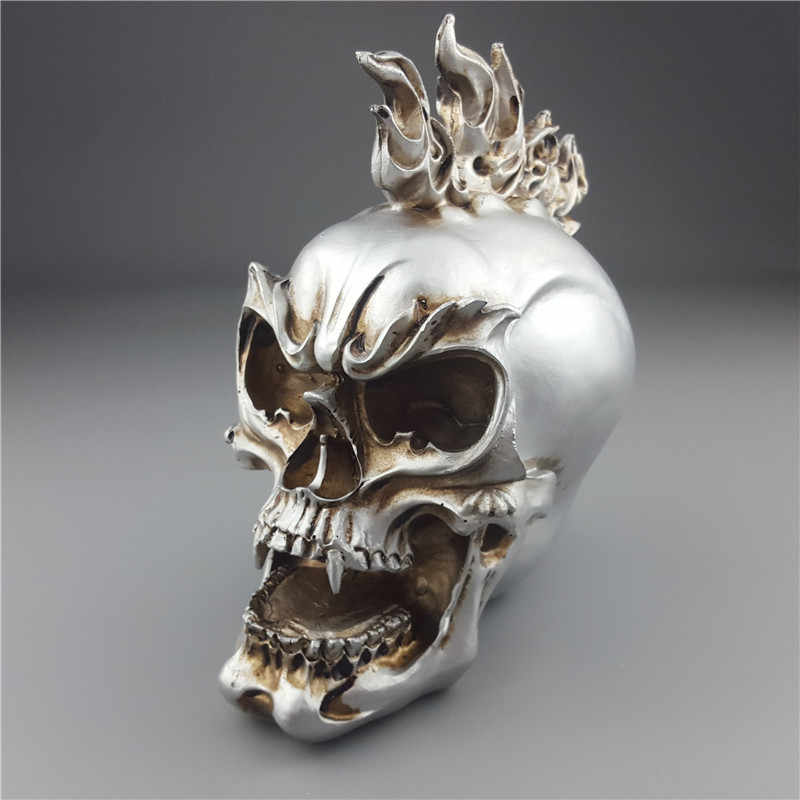 MRZOOT Human Statues Resin Sculptures Silver  Personalized Skull Creative Skull Figurines Sculpture Home Decoration Accessories