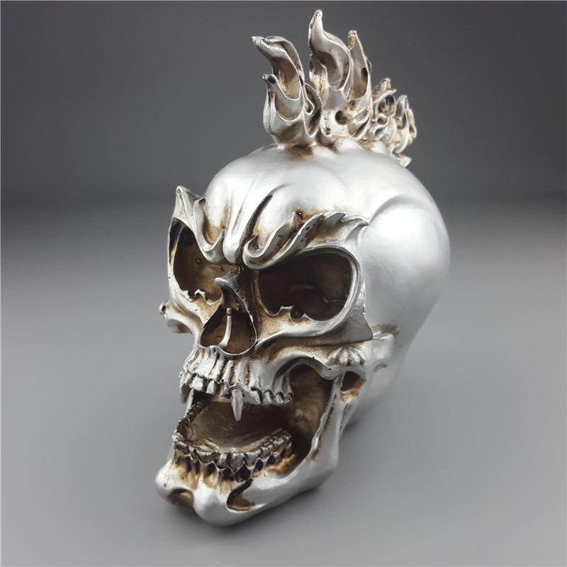 MRZOOT Estátuas Esculturas Em Resina Prata Crânio Personalizado Criativo Crânio Humano Figurinhas Escultura Casa Acessórios de Decoração