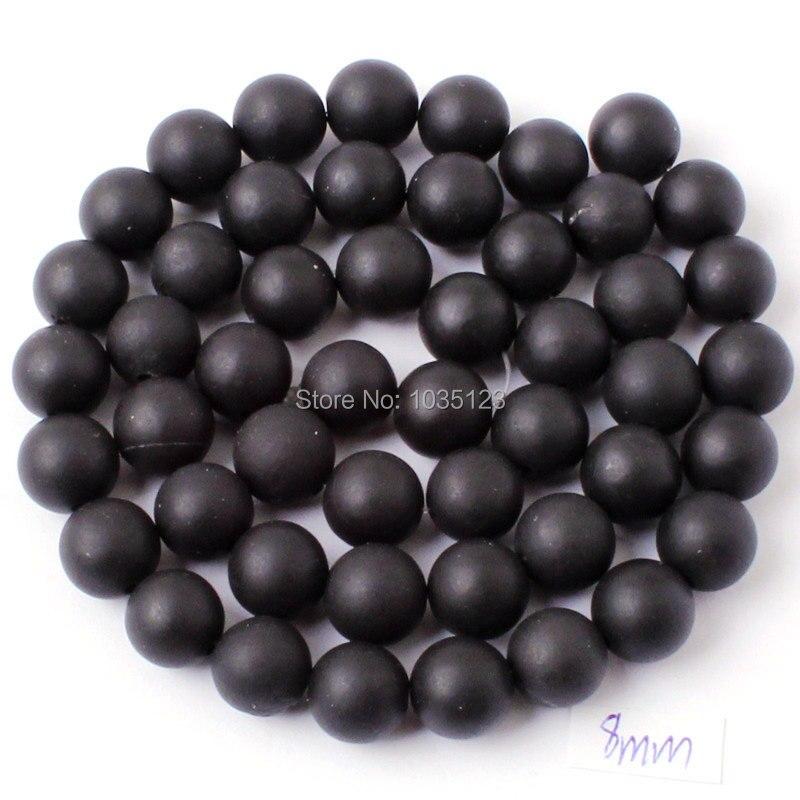 Kualitas tinggi Putaran Batu Akik Alami Buram Hitam Gelang Kalung - Perhiasan fashion - Foto 4