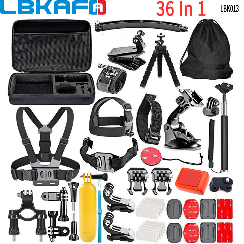 LBKAFA caméra accessoires Kit 36 en 1 sac de transport poitrine Hedad harnais trépied pour GoPro 6 5 4 3 + SJCAM SJ4000 SJ5000 SJ6 SJ7 Eken