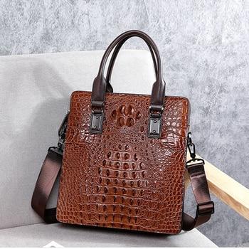 BAQI Men Handbags Men Briefcase Bag Alligator Genuine Cow Leather Man Shoulder Messenger Bag High Quality Computer Business Bag