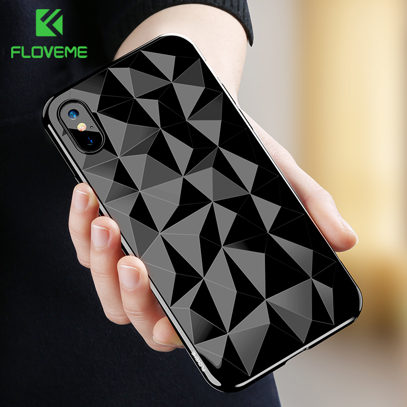 FLOVEME 3D Diamond Pattern Phone Case For iPhone X Luxury Ultra Thin Soft TPU Cases For iPhone 7 8 6...  iphone x cases 3d FLOVEME font b 3D b font Diamond Pattern Phone font b Case b font For font