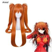 Аниме Неон Eva Evangelion Косплей Asuka Langley Soryu парики оранжевый конский хвост парик для женщин девочек Asuka Langley парик косплей