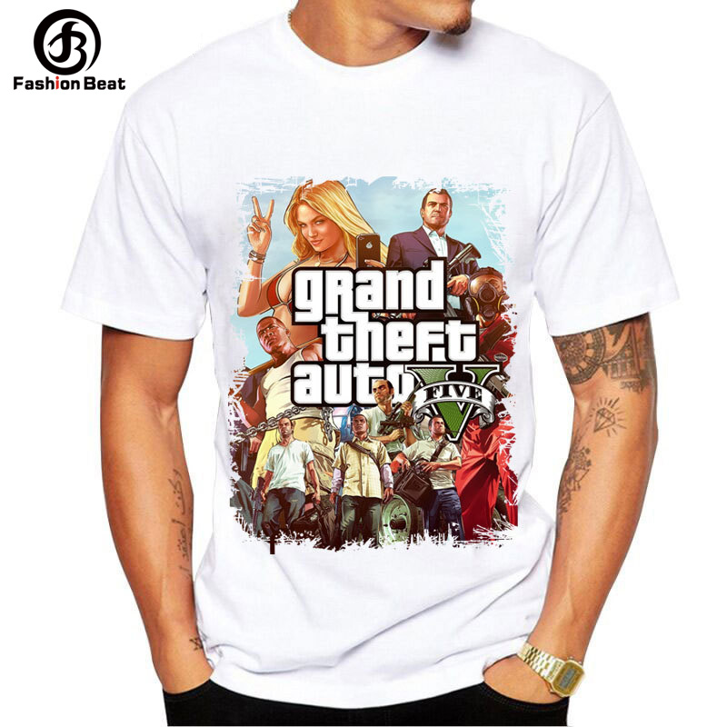 Grand Theft Auto Gta V 5 3D XBOX High Quality Super Soft Men T Shirts GTA 5 Mens Game T Shirt Street Style Unisex White Tee Tops ...
