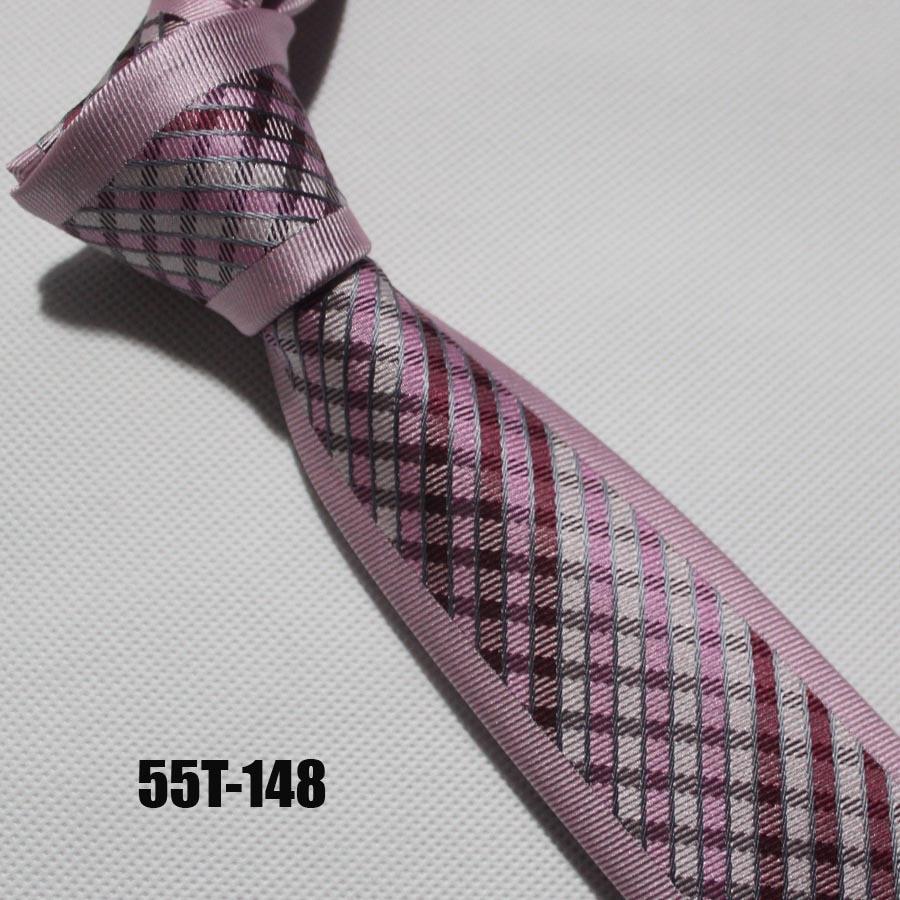 Уникальный Галстук lingyao дизайнерский галстук Повседневный узкий галстук фирменный gravata с розовыми сетками - Цвет: Розовый