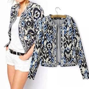 Women Jacket 2017 Autumn Winter Vintage Retro Pop Art Print Embroidery Beading Cotton Coats Slim Thick Padded Lady Jacket 5075