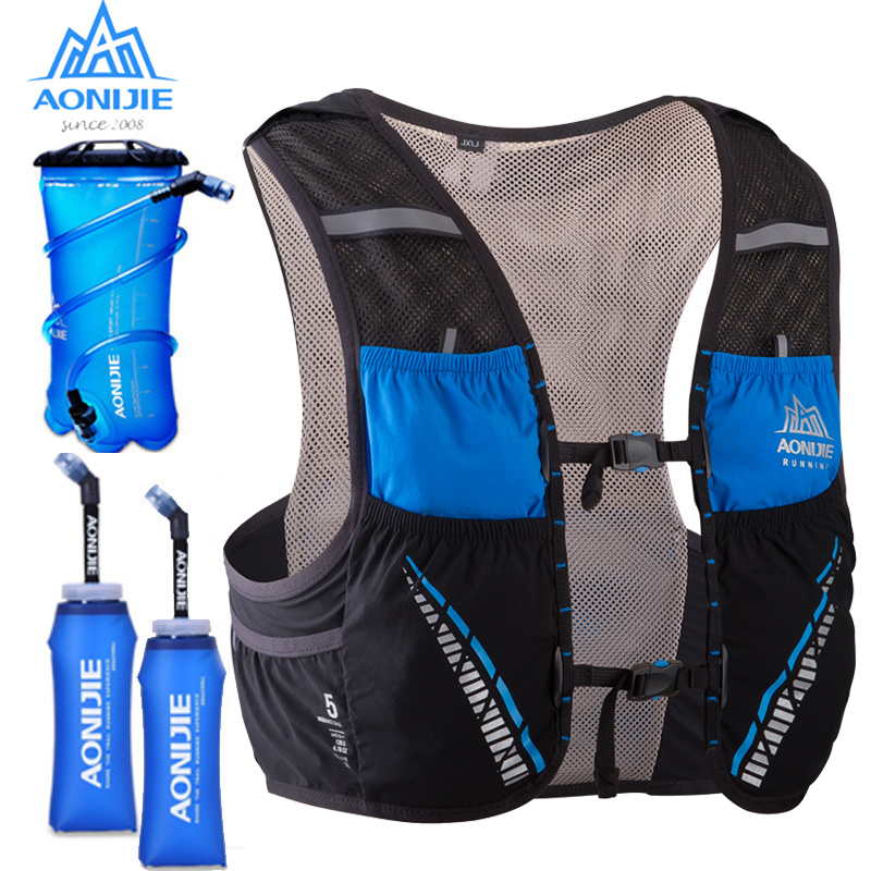 AONIJIE 5L Running Vest Backpack Breathable Hydration Pack Backpack Rucksack Water Bladder For Hiking Climbing Marathon