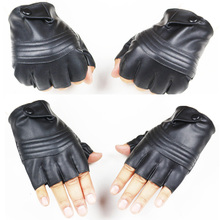 New Style Mens Leather Driving Gloves Fitness Half Finger Tactical Black Guantes Luva leather fitness gloves