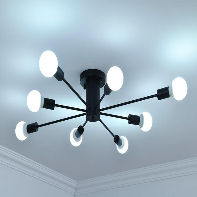 E27 מרובה מוט יצוק ברזל תקרת תאורת 110V 240V תאורה קבועה LED תקרת מנורת מטבח בית תפאורה אור
