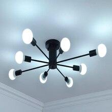 E27 haste múltipla ferro forjado iluminação de teto 110v 240v interior luminária led lâmpada do teto cozinha decoração para casa luz
