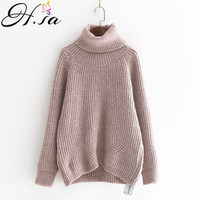 H.SA 2018 New Winter Turtleneck Sweater and Pullovers Long Sleeve Warm Pull Jumpers Loose Korean Knit Sweater Chirstmas Pull