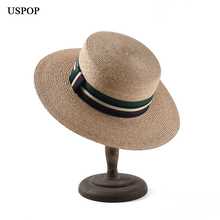 USPOP 2019 New women raffia straw sun hat female natural hats casual summer wide brim striped ribbon beach