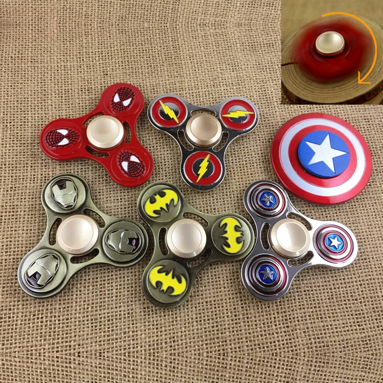 Hand Fidget Spinner Avengers America Captain Spiderman X men Iron man Flash One Piece Metal Anime