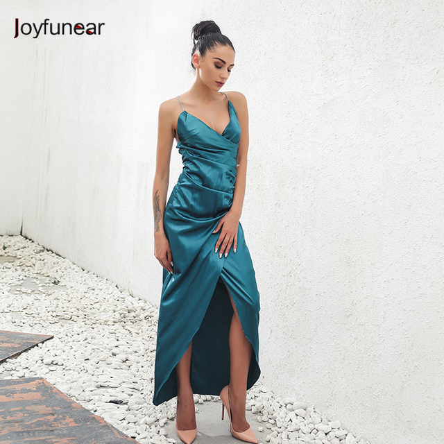 9403bef1c7a3 Women Evening Party Night Club Dresses Spaghetti Strap Silk Stain Dress  Women V Neck Sleeveless Stain Slip dress vestidos