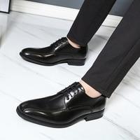 Men leather shoes business dress suit shoes men brand Bullock genuine leather black lace up wedding mens shoes