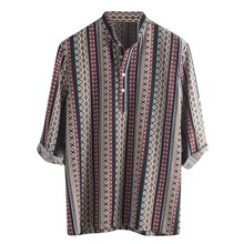 Mens Dark Color Summer Breathable Stripe Cool Shirt Thin Button Cotton Half Sleeve