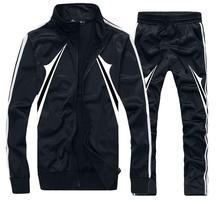 Men Running Stripes TrackSuit Jogging Coat Sport Jacket Suit Set Long Pants Black XL