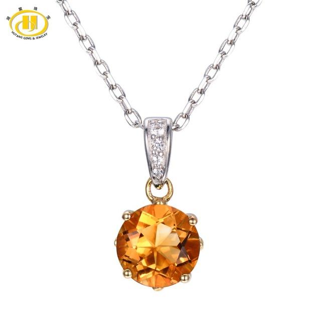 Hutang 1.44ct Natural Citrine & Topaz Sólidos 925 Prata Esterlina Colar de Pingente Redondo 8mm Gemstone Fine Jewelry Presente de Natal 11.11