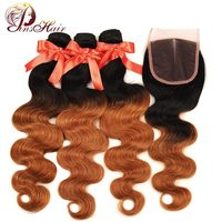 Pinshair Pre Colored Ombre Body Wave Hair 3 Bundles With Closure 1B 30 Blonde Malaysian Human Hair Weave With Closure Non Remy